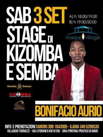 BONIFACIO AURIO e MAYSA – Stage Kizomba e Semba – Sabato 3 Settembre 2016 – Marine Village